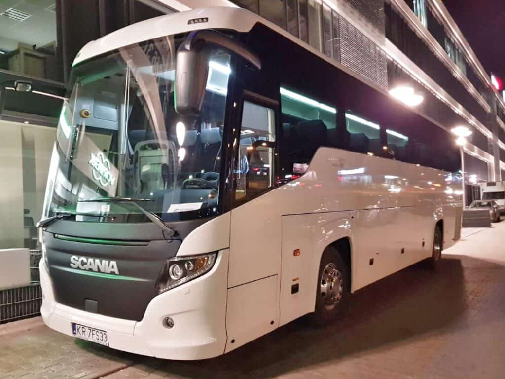 Scania Turing coach at night