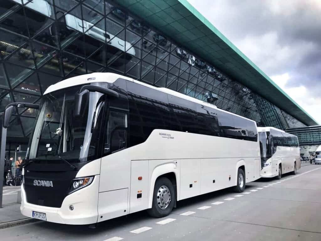 50-seater coach with driver hire ready for passengers at the Krakow Airport