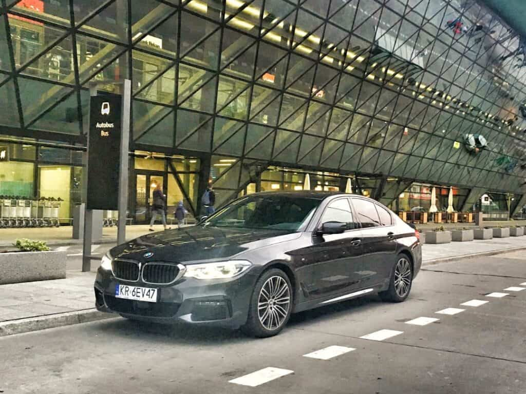 BMW 5-series limousine at the Krakow Airport