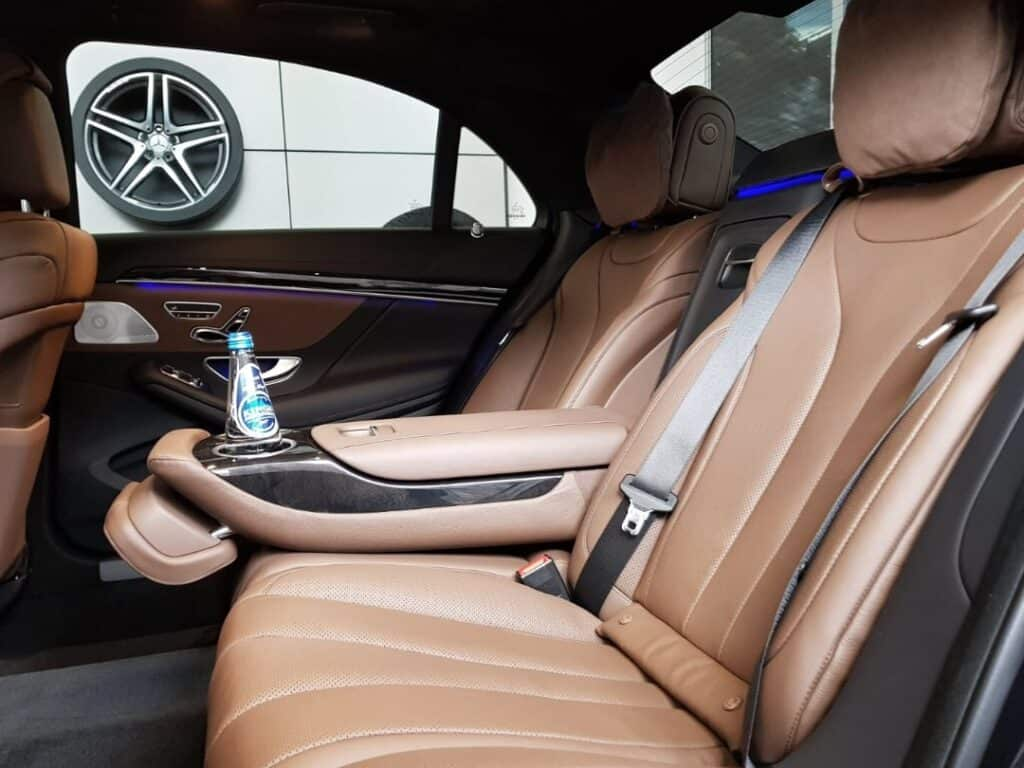 Limousine with driver hire, interior of luxury limousine Mercedes-Benz S-class