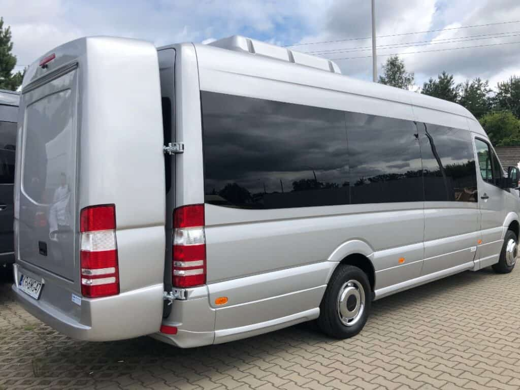 Back of the Mercedes-Benz Sprinter, minibus with driver for hire in Krakow