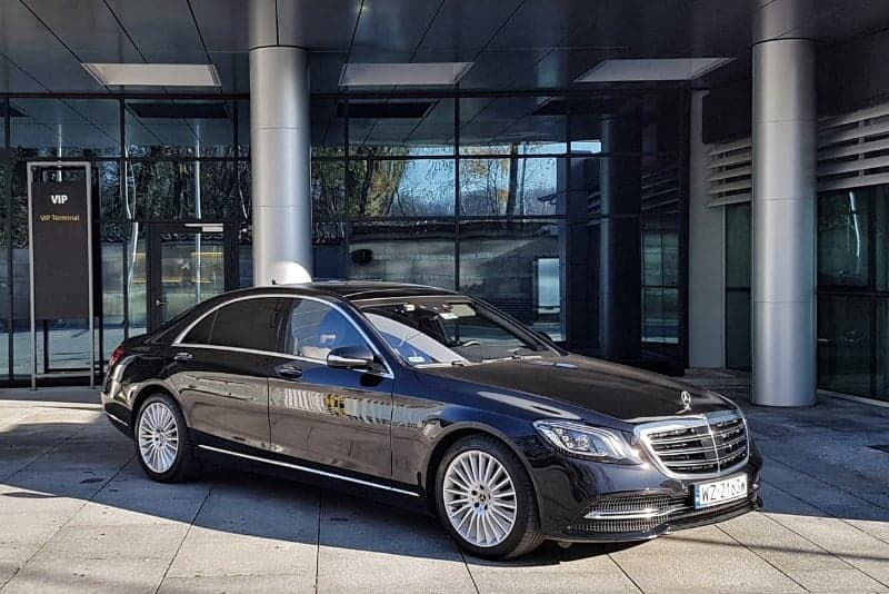Our Poland car hire with driver service. Premium brands limousine rental with a driver. Pickup of the passenger from the airport VIP terminal in Krakow, Poland